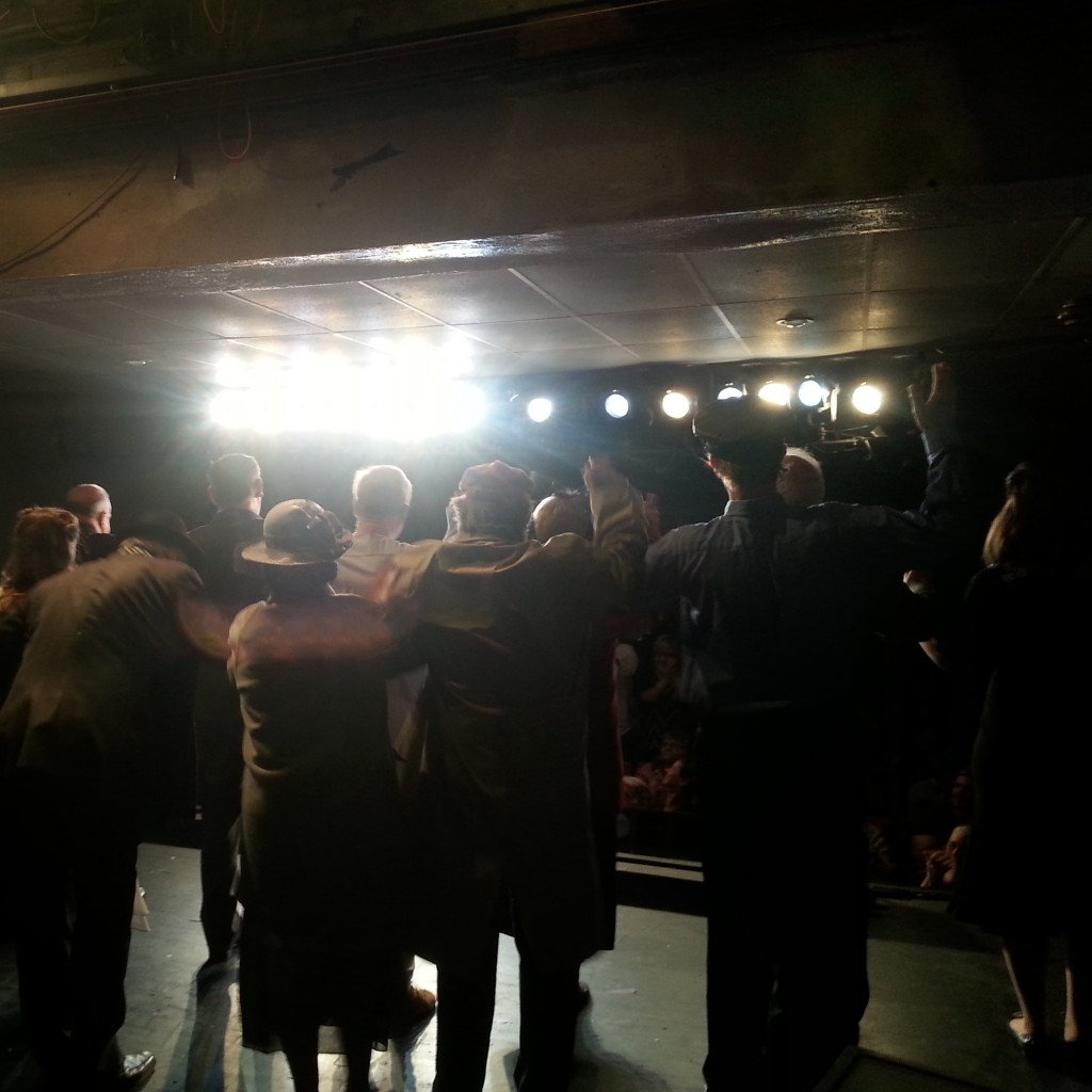 Backstage shot of the curtain call for It's a Wonderful Life